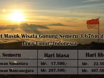 Harga Tiket Masuk Wisata Pendakian Gunung Semeru