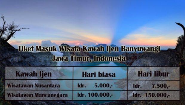 Harga Tiket Masuk Wisata Kawah Ijen Banyuwangi